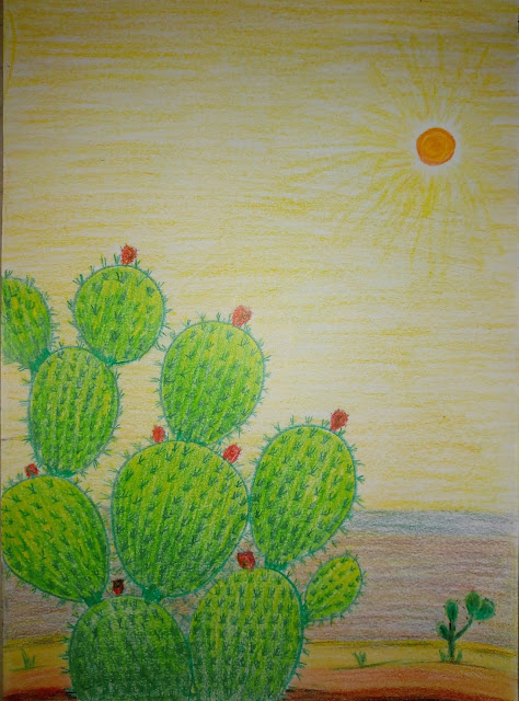 Drawing of prickly pear plant