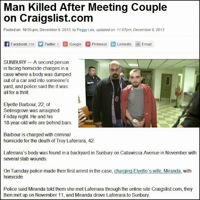 Craiflist Com: Solomon's Words For The Wise: Man Killed After Meeting