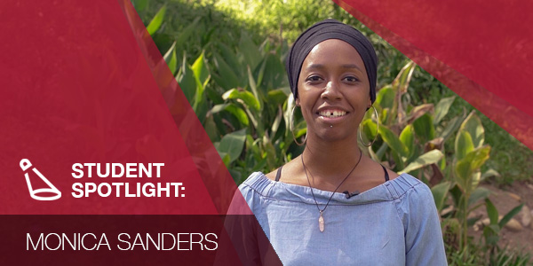Student spotlight graphic with photo of Monica Sanders.