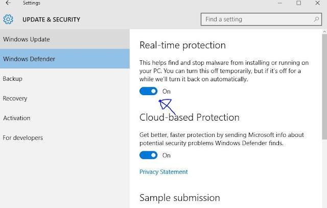 Cara mematikan Windows Defender di window 10