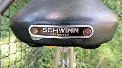 Black Bicycle Seat with Schwinn Nameplate on Schwinn Le Tour