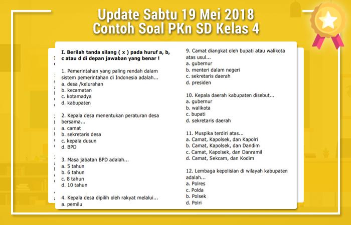 Update Sabtu 19 Mei 2018 Contoh Soal PKn SD Kelas 4
