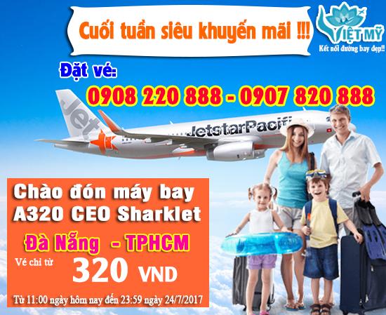 Khuyến mãi Jetstar Đà Nẵng - TPHCM 320 VND