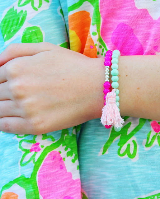 The Mint Tel Bracelet Is Perfect Hue And Stacking It With A Bright Pink Complements Two Colors So Nicely