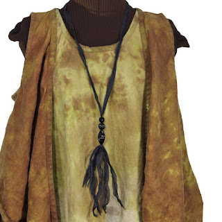linen lagenlook vest and dress with silk and vintage bead necklace