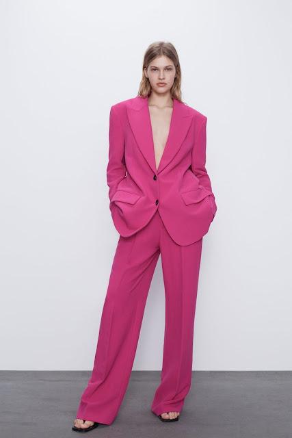 tailleur fucsia di zara tailleur fucsia outfit primavera 2020 tendenze moda primavera 2020 mariafelicia magno fashion blogger colorblock by felym