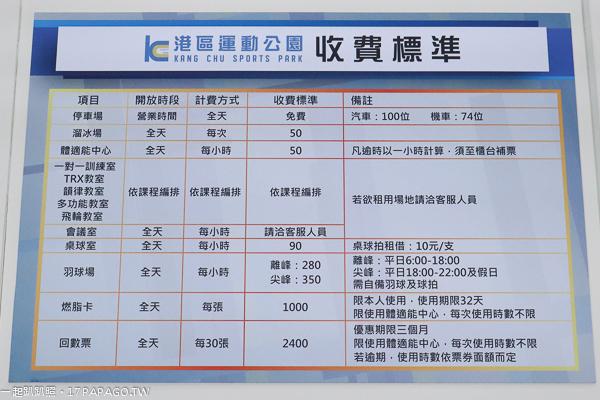 台中港區運動公園收費標準