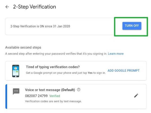 google 2 step verification ko enable/disable kaise kare