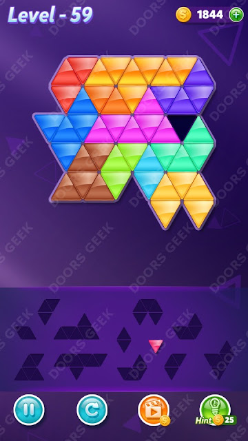 Block! Triangle Puzzle 12 Mania Level 59 Solution, Cheats, Walkthrough for Android, iPhone, iPad and iPod