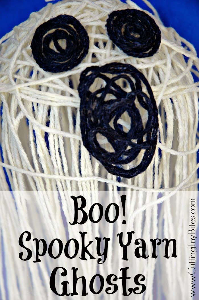 halloween craft, ghost made from glue soaked yarn