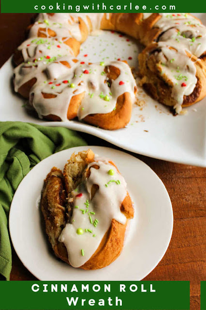 Soft and sweet cinnamon rolls take on a festive wreath shape. They are a perfect holiday breakfast or something fabulous for overnight guests.