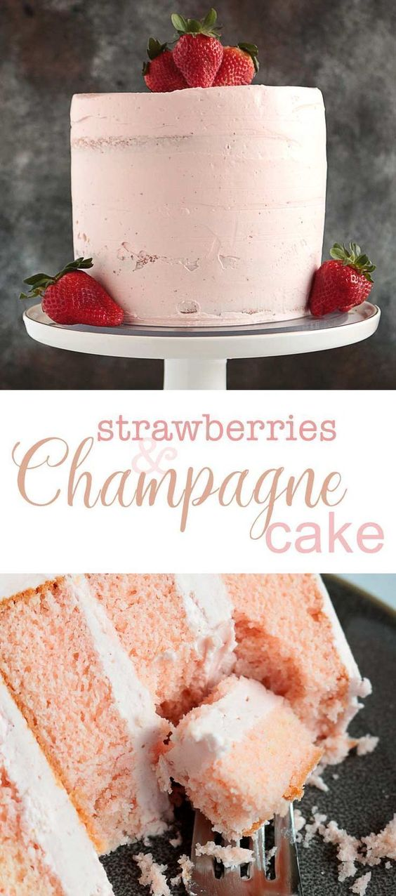 Pink Champagne Cake with Strawberry Butter Cream
