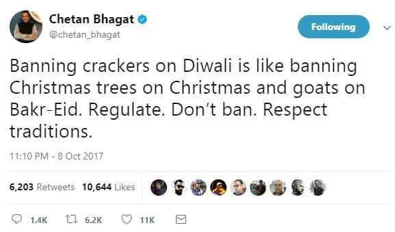 chetan-bhagat-criticise-supeme-court-decision-to-ban-patakha-diwali
