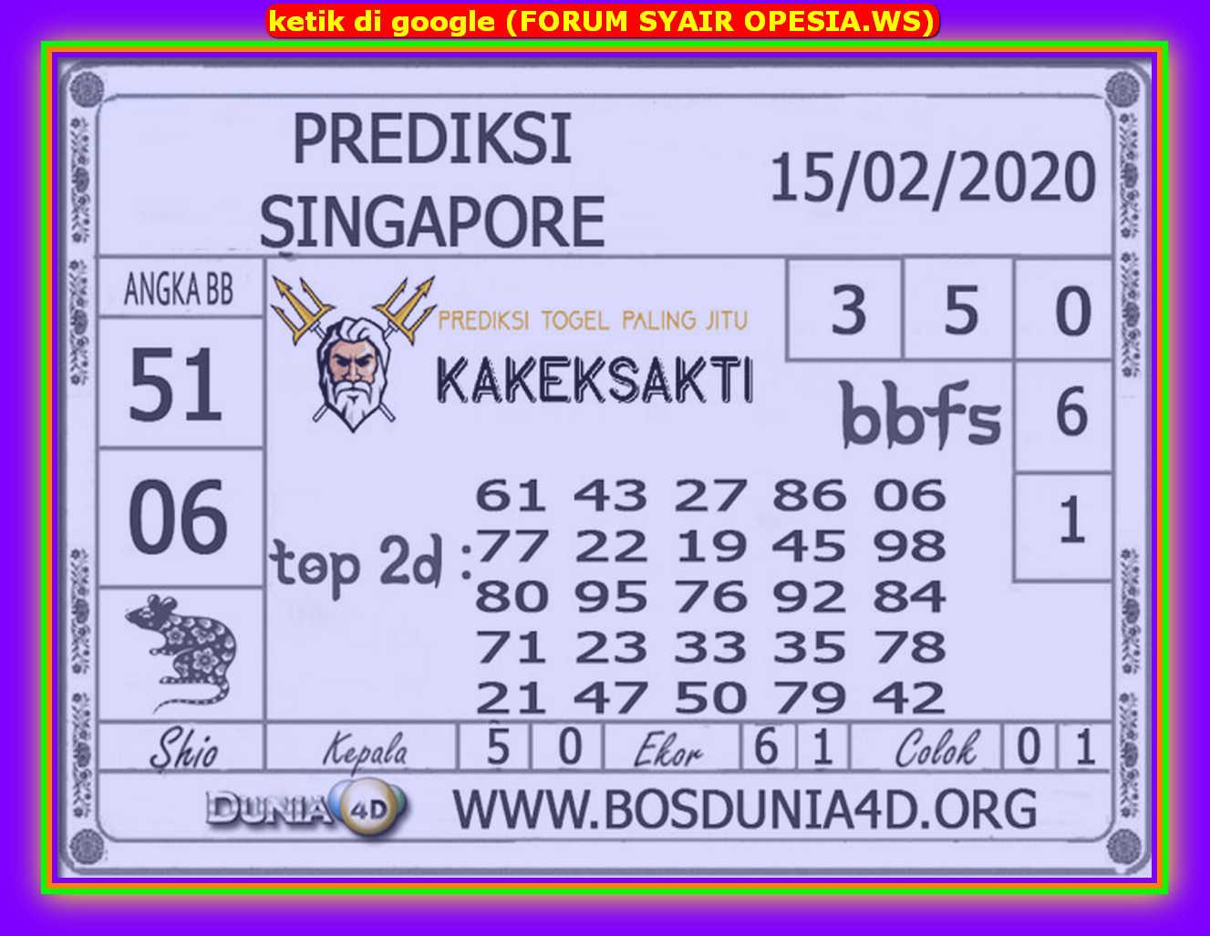Kode syair Singapore Sabtu 15 Februari 2020 103