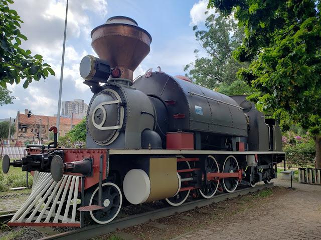 カタベント博物館内に展示されている蒸気機関車