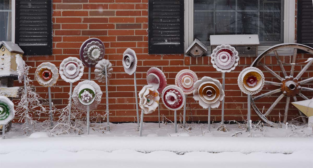 Glass Garden Flowers with Snow