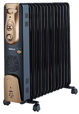 Havells OFR - 13Fin 2900-Watt PTC Fan Heater (Black) | Best Havells Oil Filled Room Heaters