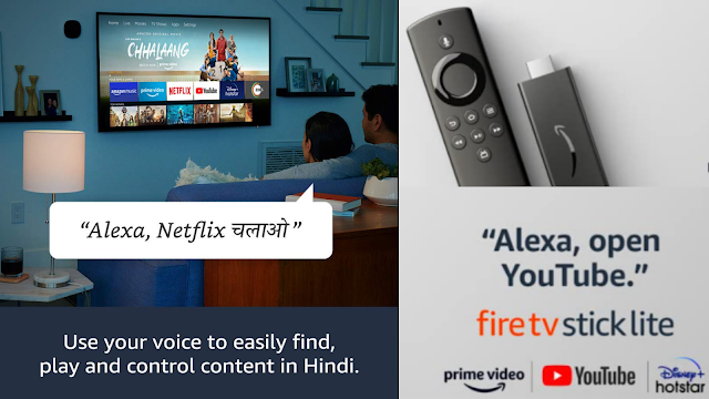 Fire TV Stick Lite with Alexa Voice Remote Lite with Hindi