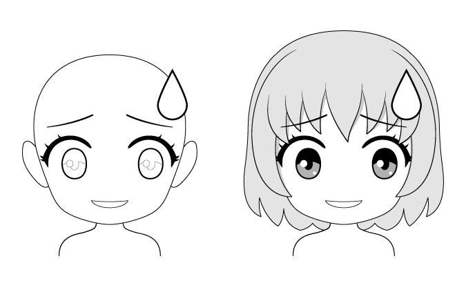 Ekspresi wajah anime chibi yang gugup
