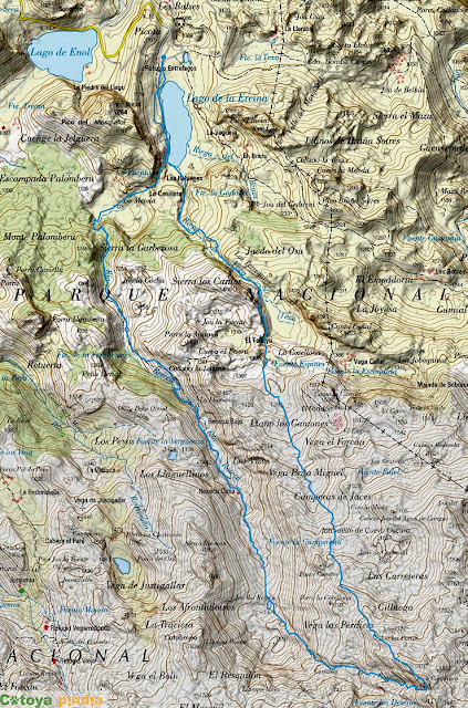 Map ING de la ruta al Pico Conjurtao desde el Lago Ercina en los Picos de Europa