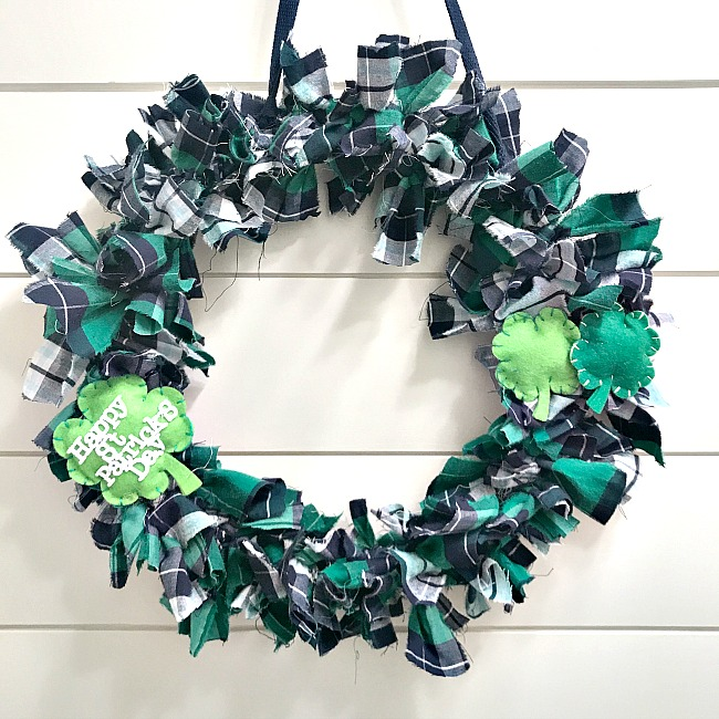 St. Patrick's Day rag wreath with felt shamrocks