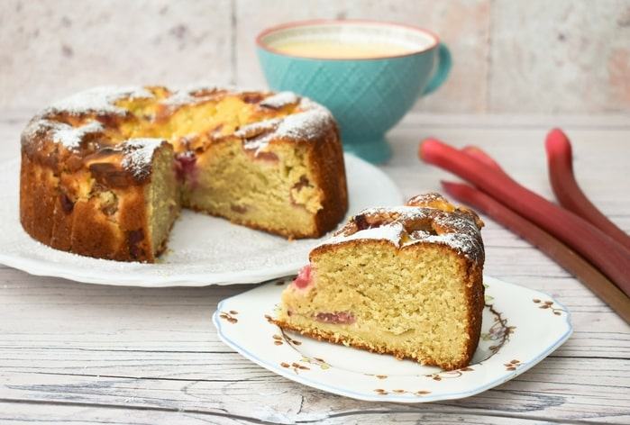 Oat Flour Rhubarb and Custard Cake