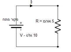 מעגל חשמלי - נגד בעל התנגדות 5 אוהם מחובר למקור מתח 10 וולט