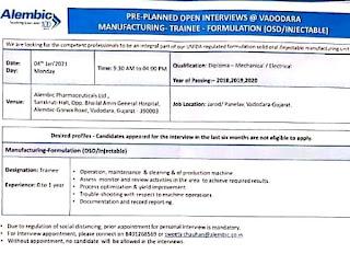 Job Interviews for Diploma Mechanical / Electricals Freshers in Alembic Pharmaceuticals Ltd Vadodara, Gujarat