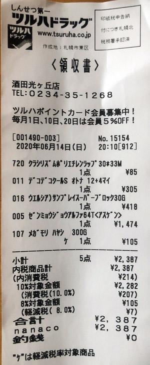 ツルハドラッグ 酒田光ケ丘店 2020/6/14 のレシート