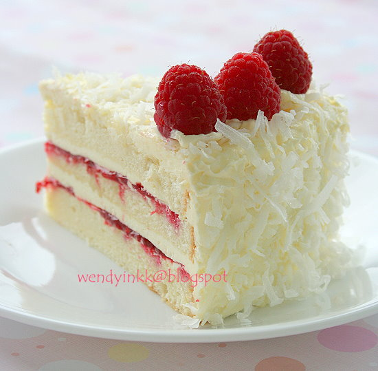 Raspberry Coconut Birthday Cake