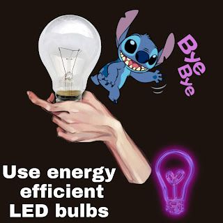 Use energy efficient LED lights