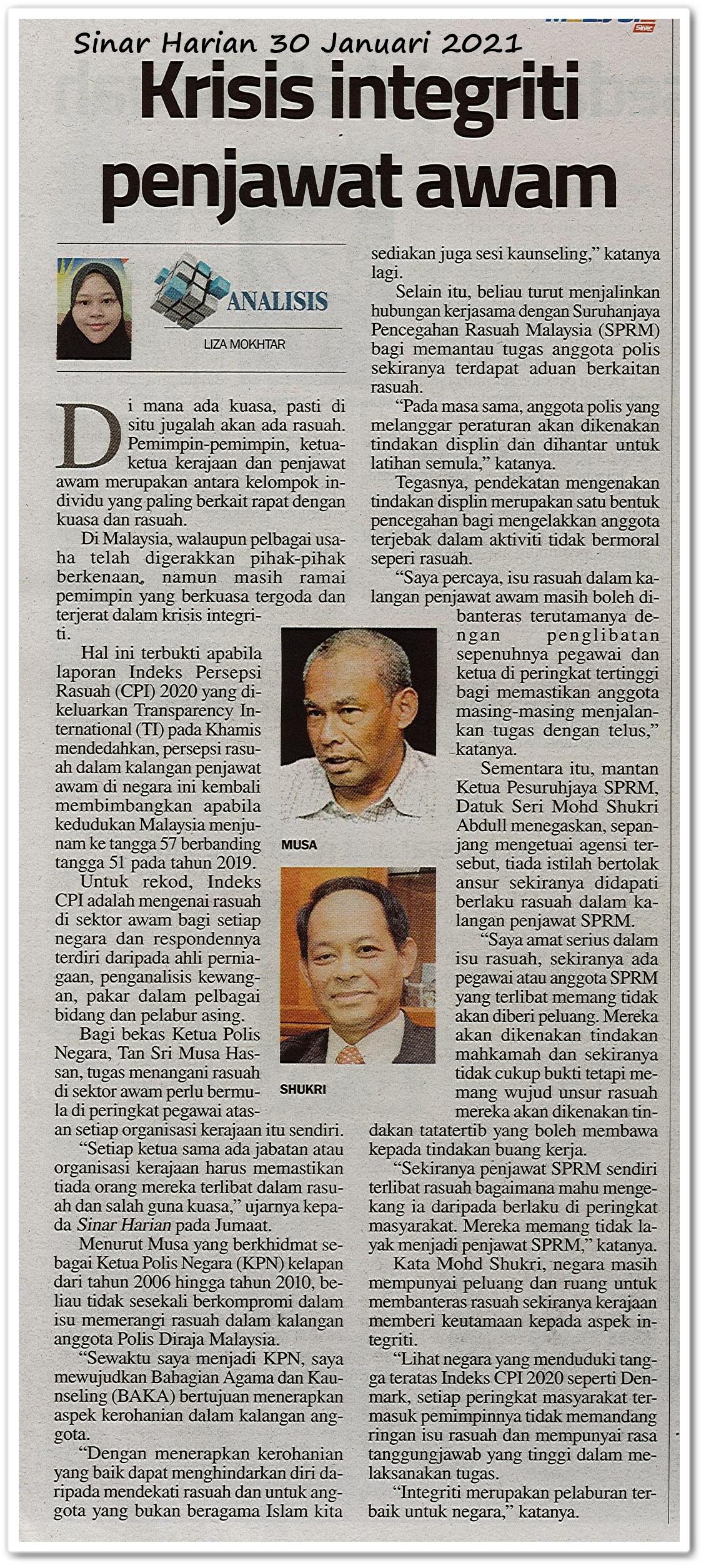 Krisis integriti penjawat awam - Keratan akhbar Sinar Harian 30 Januari 2021