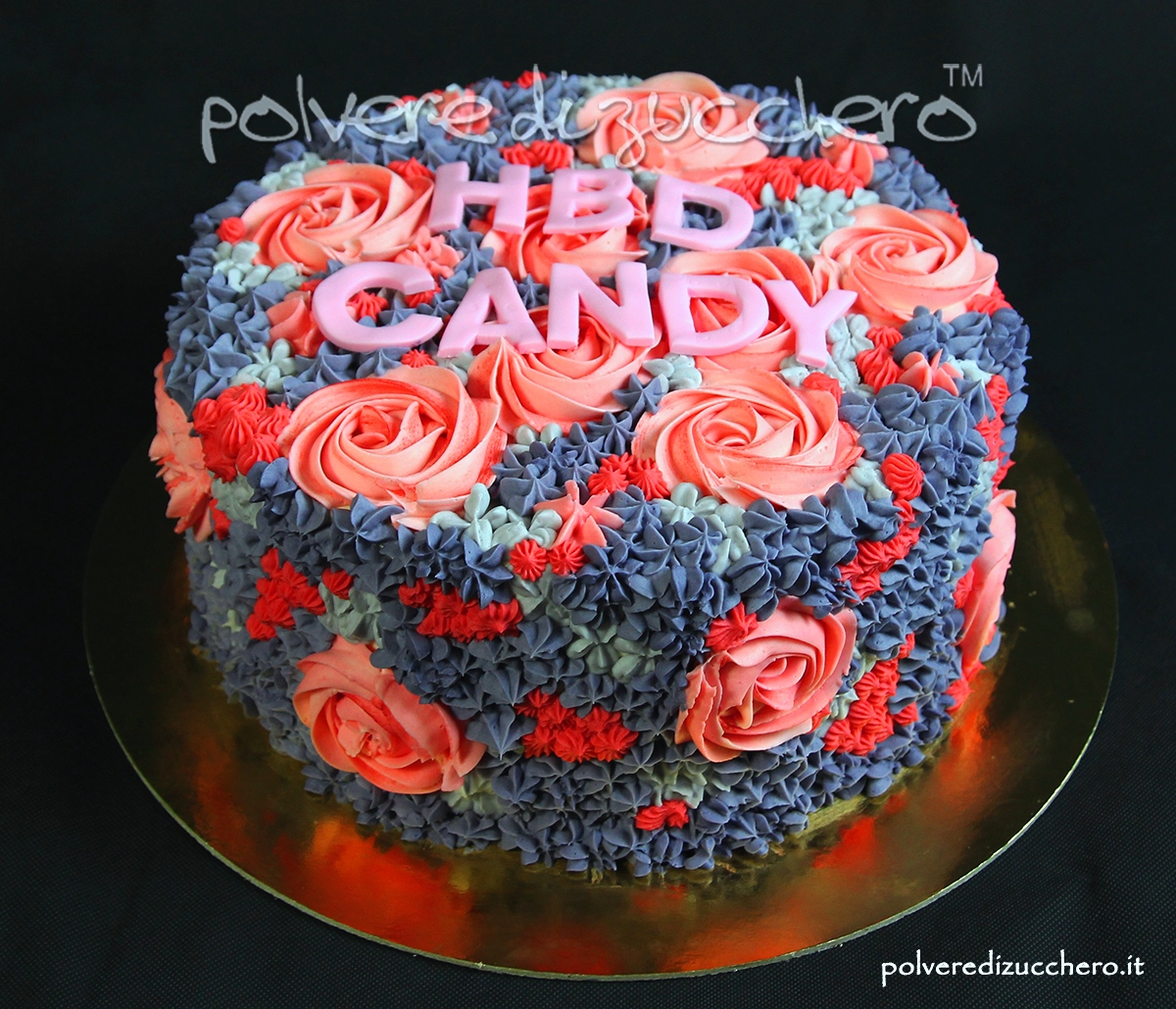 torta decorata sac a poche butter cream fiori rose swirl bocchette decorated cake