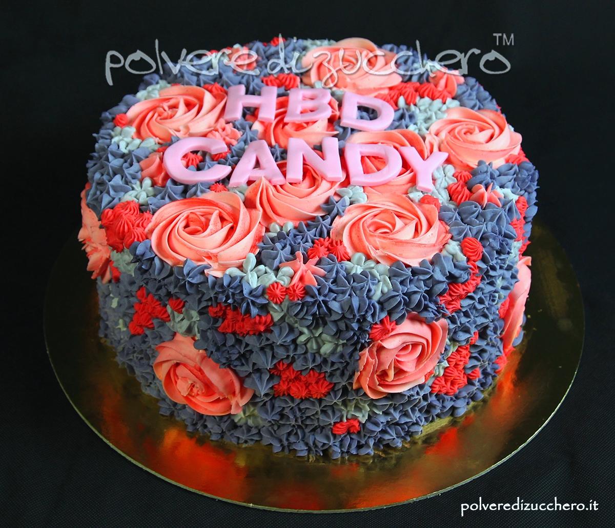 torta decorata sac a poche butter cream fiori rose swirl bocchette decorated cake