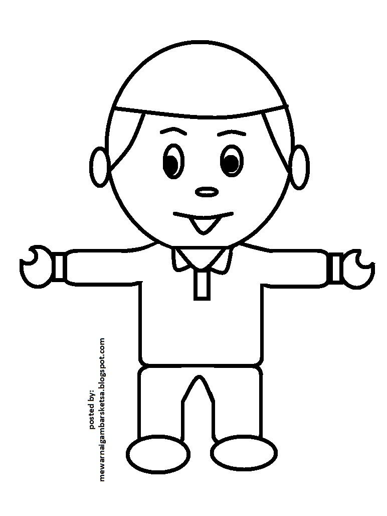 Mewarnai Gambar Mewarnai Gambar Sketsa Kartun Anak Muslim 39
