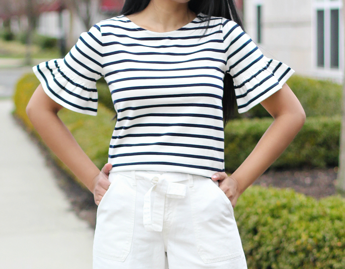 J.Crew Striped Ruffle Sleeve Tee, J.Crew Factory Striped Ruffle Sleeve Tee