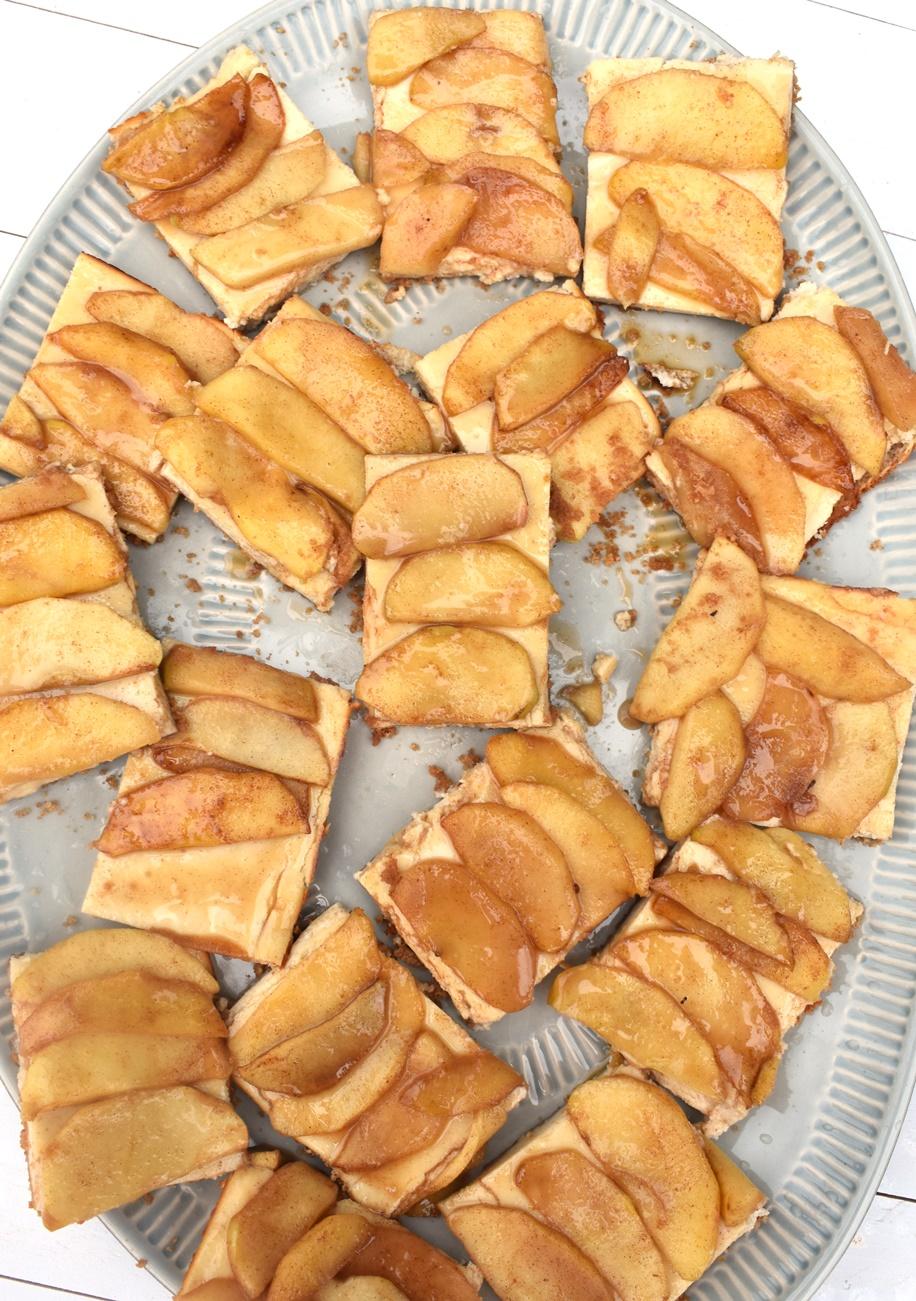 platter of caramel apple cheesecake bars