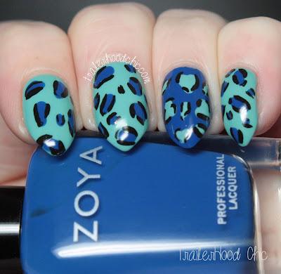 china glaze aquadelic zoya sia leopard print wedding nails