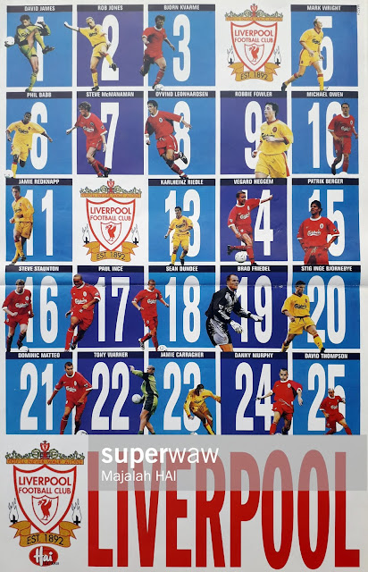 POSTER SKUAD LIVERPOOL 1998