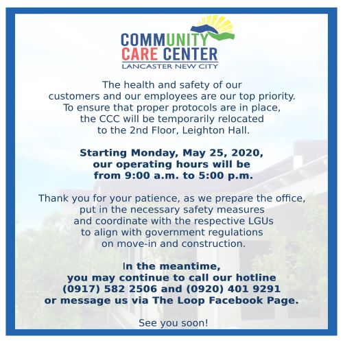 Announcement from the Community Care Center at Lancaster New City