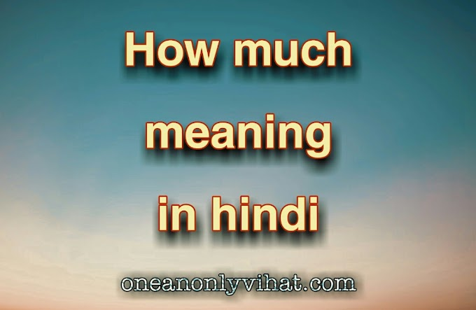 How much meaning in hindi | हाउ मच का हिंदी अर्थ | oneanonlyvihat