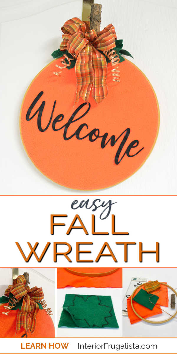 A simple easy peasy embroidery hoop pumpkin wreath tutorial by Interior Frugalista, a budget fall decorating idea with thrift store finds, fabric scraps and ribbon that you have on hand. #falldoorwreath #welcomefallwreath