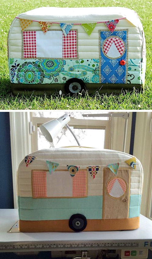 Vintage Caravan Sewing Machine Cover - Free Pattern & Tutorial