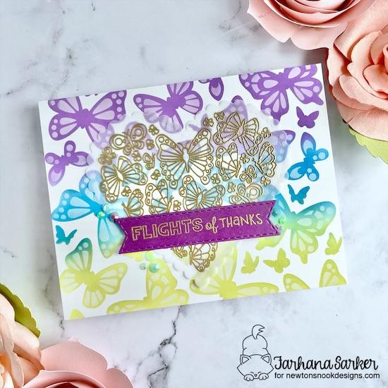 Flights of Thanks Card by Farhana Sarker | Heartfelt Butterflies Stamp Set, Butterflies Stencil Set, Heart Frames Die Set and Banner Trio Die Set by Newton's Nook Designs #newtonsnook #handmade