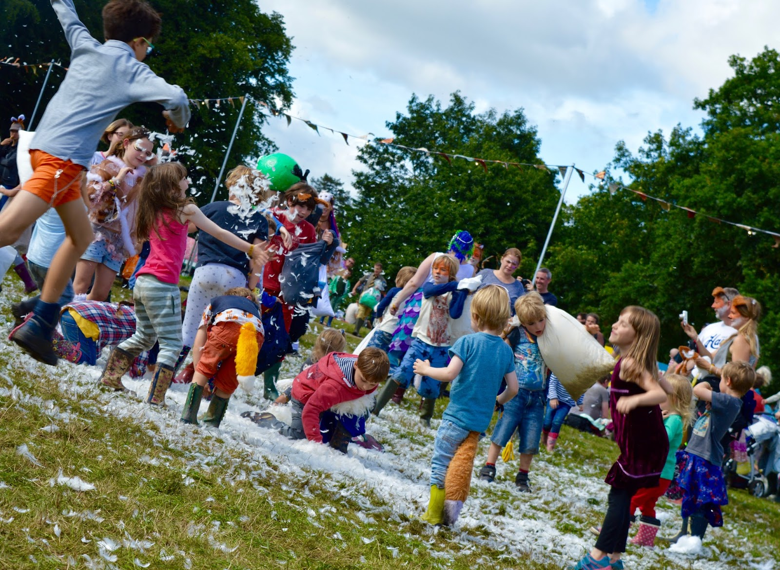 33 Reasons we LOVED the Just So Festival 2016 - pillow fight on village green