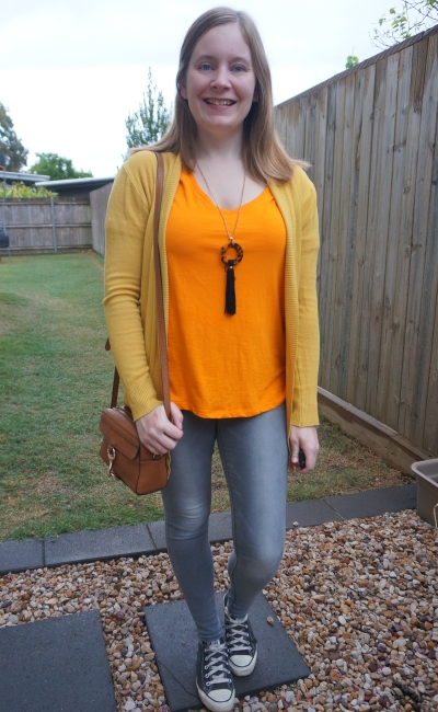 orange tee and mustard yellow cardigan skinny jeans converse outfit | awayfromblue