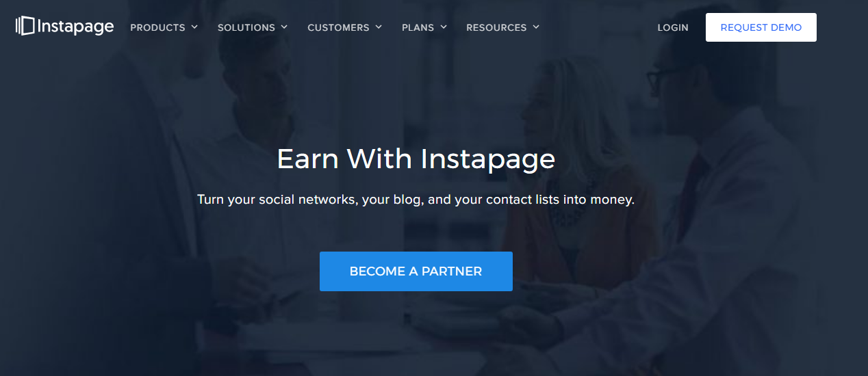 instapage affiliate homepage