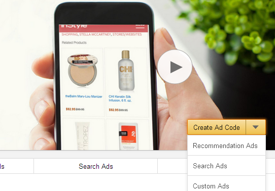 Amazon Native Shopping Ads homepage