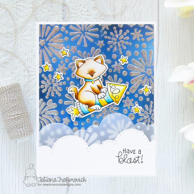 Have a blast! Card by Tatiana Trafimovich | Newton's 4th of July Stamp Set, Fireworks Stencil and Sky Borders Die Set by Newton's Nook Designs #newtonsnook