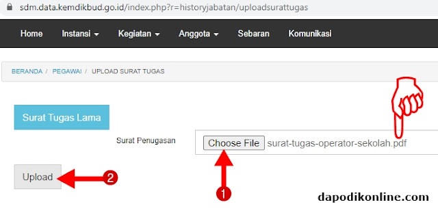 Choose File dan Upload File Surat Tugas Operator Dapodik Sekolah